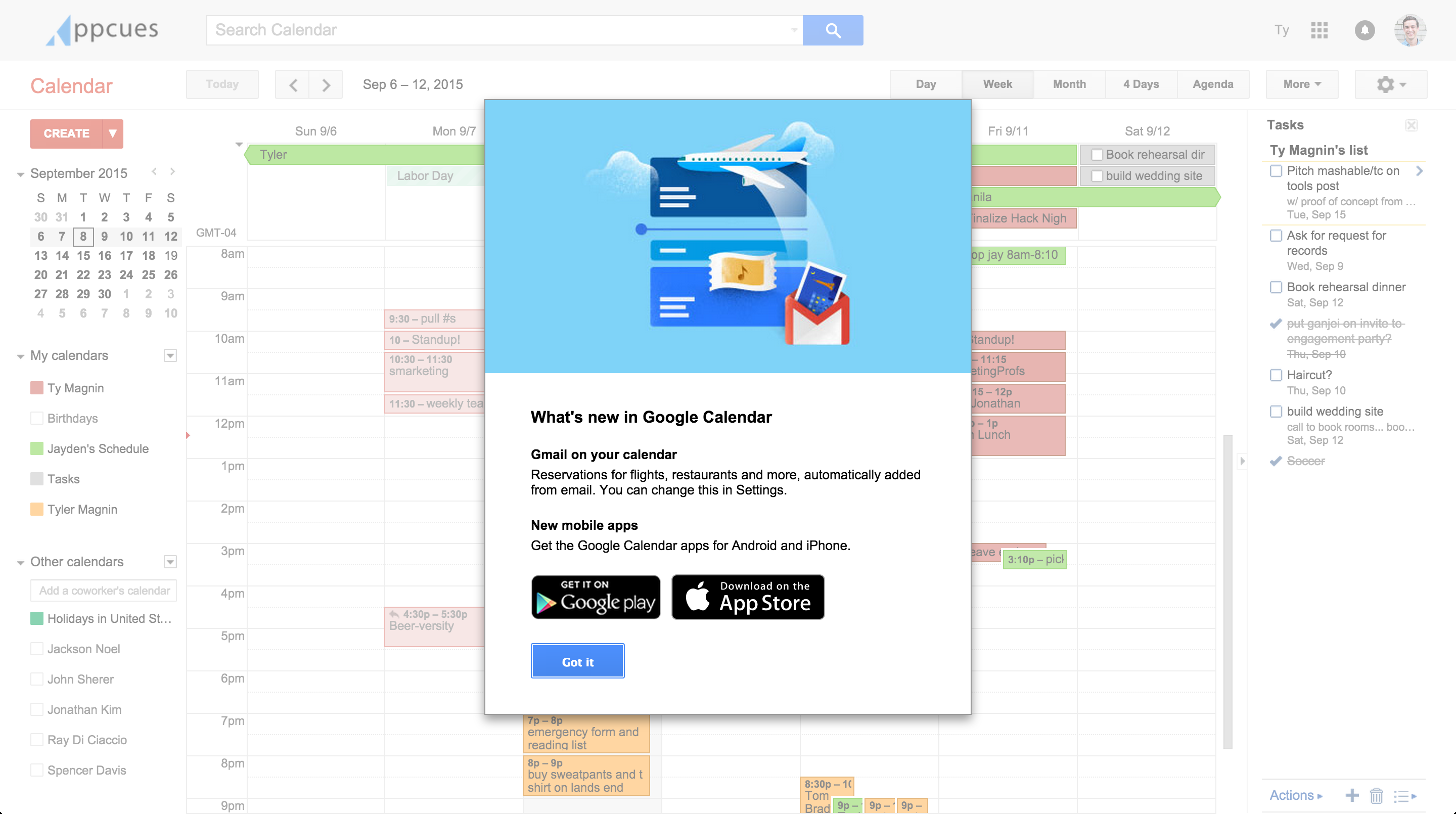 google calendar user engagement modal