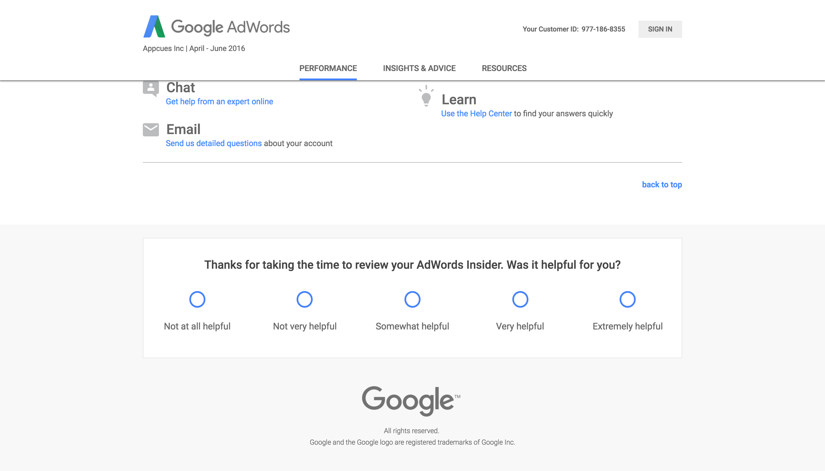 Google's HEART framework shown in it's NPS questionnaire