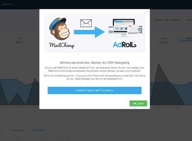 mailchimp and adroll integration feature announcement modal window made with appcues