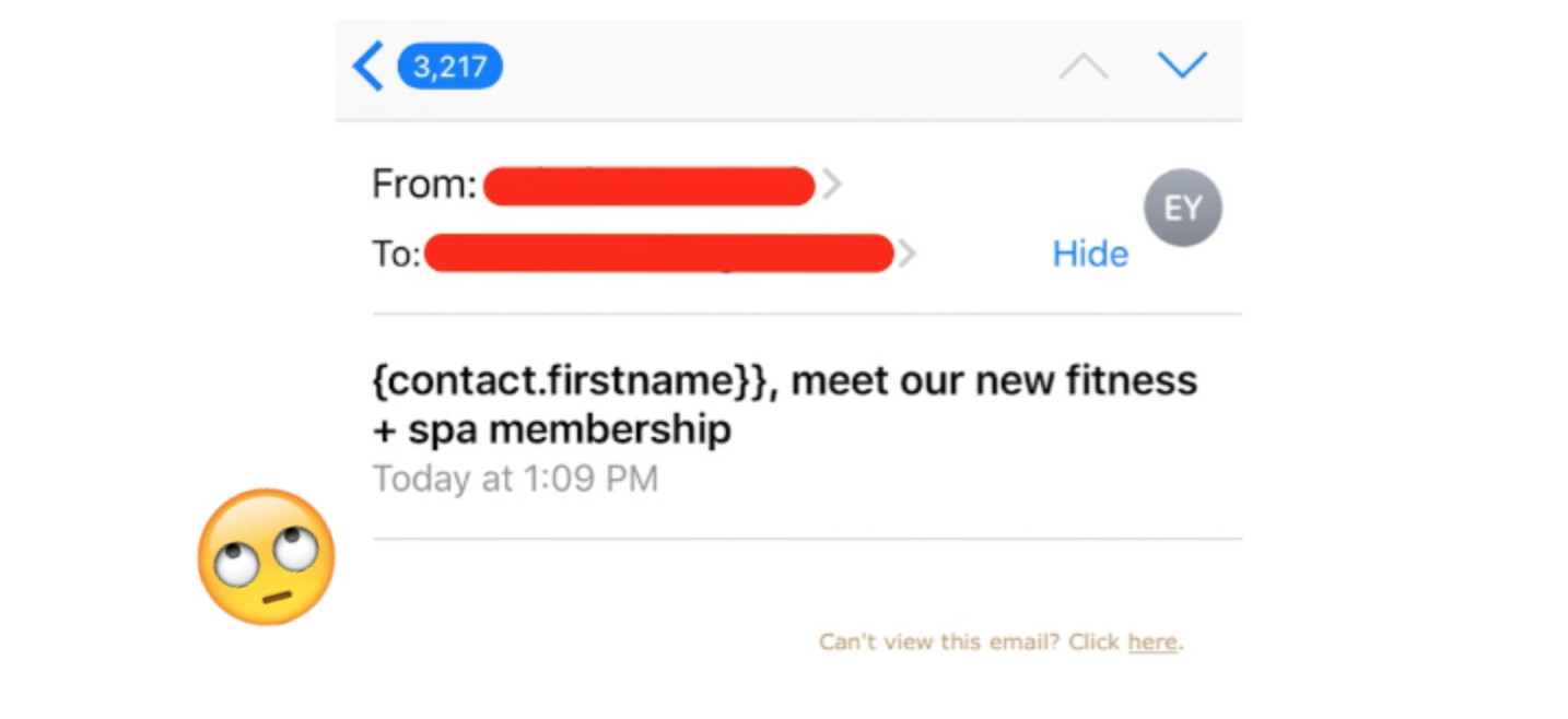 A screenshot of an email that says 'contact's first name' instead of the actual first name