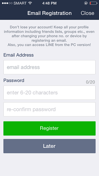 LINE eliminate user onboarding step 1