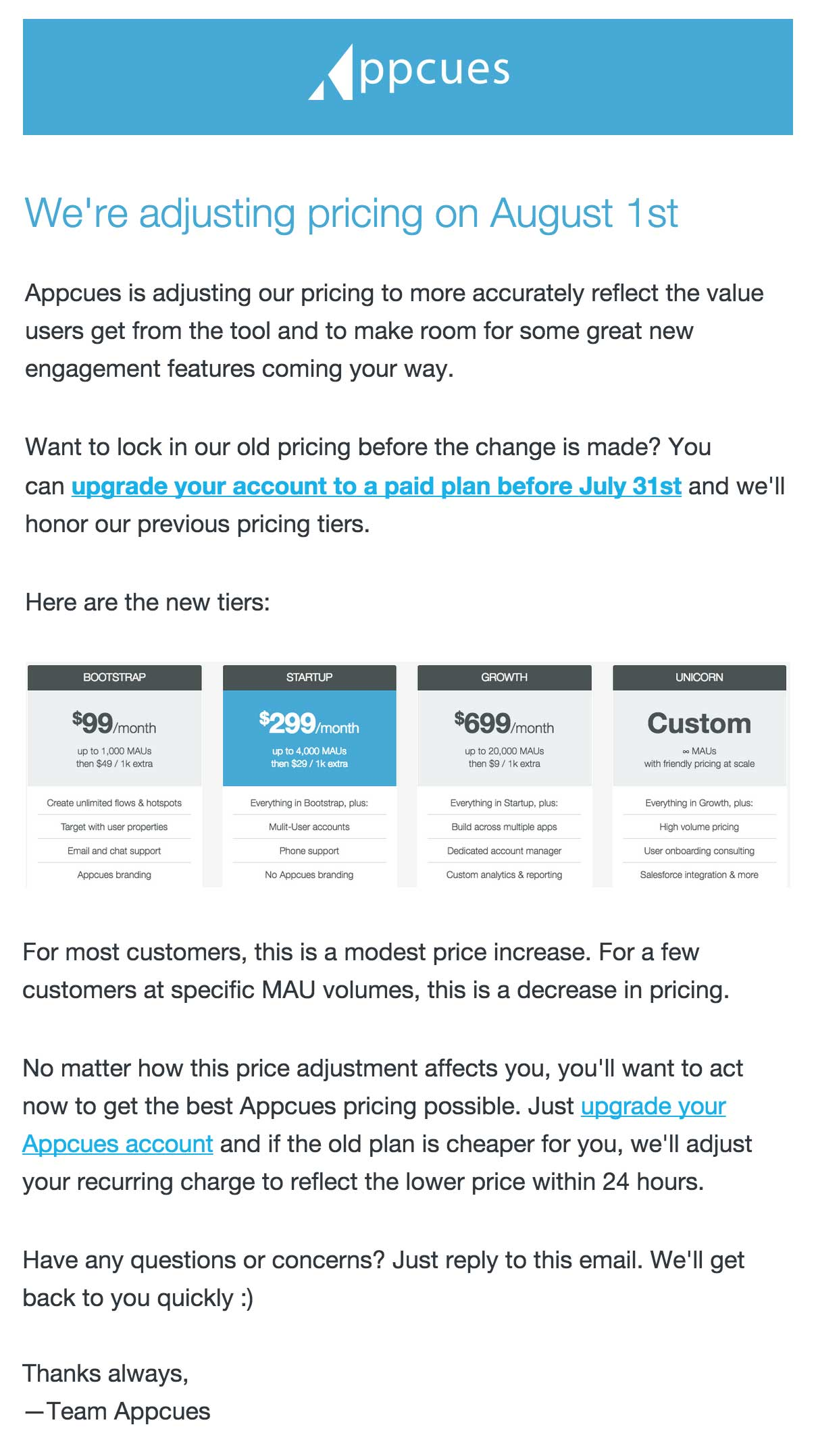 Price increase email to free trial users