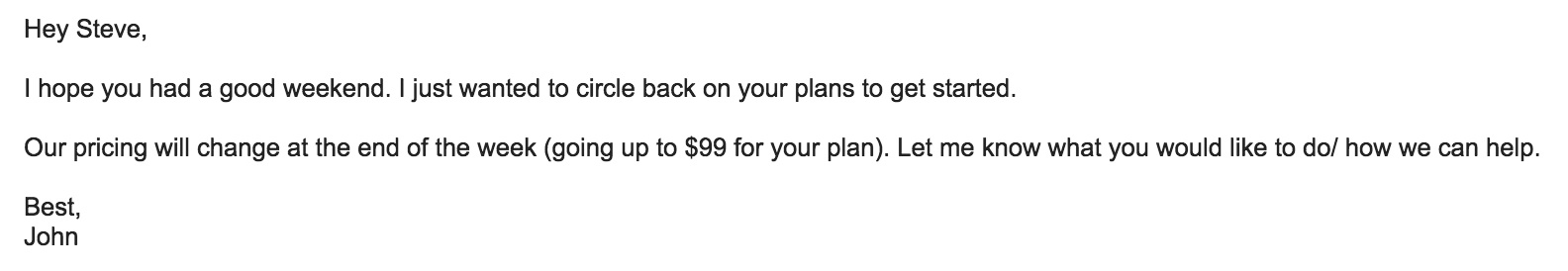 Pricing increase follow-up email sample for sales