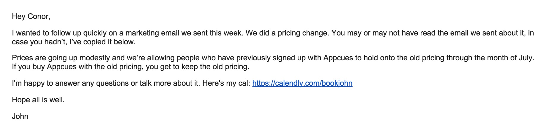 Price increase follow-up email from sales
