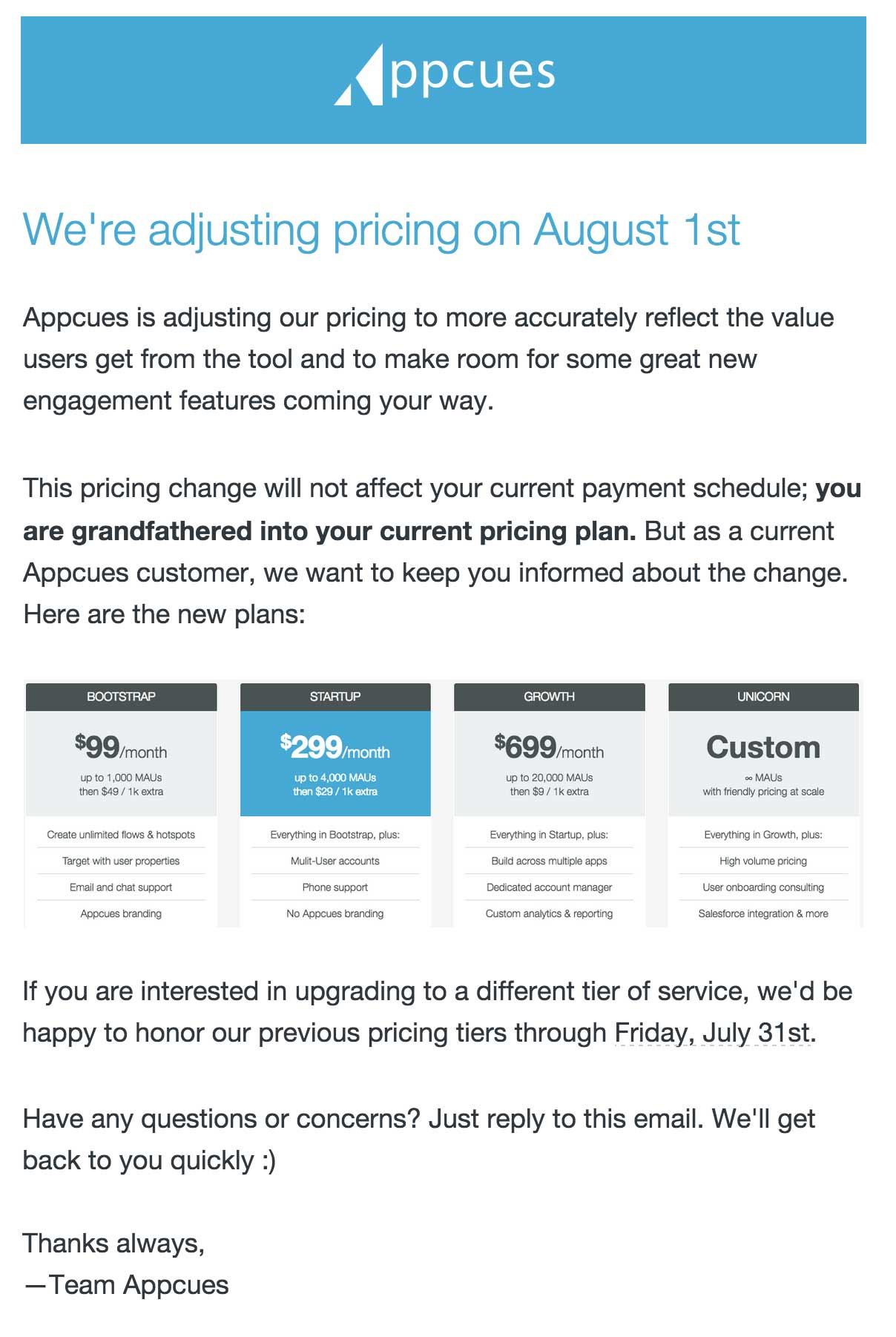 Price increase email to customers