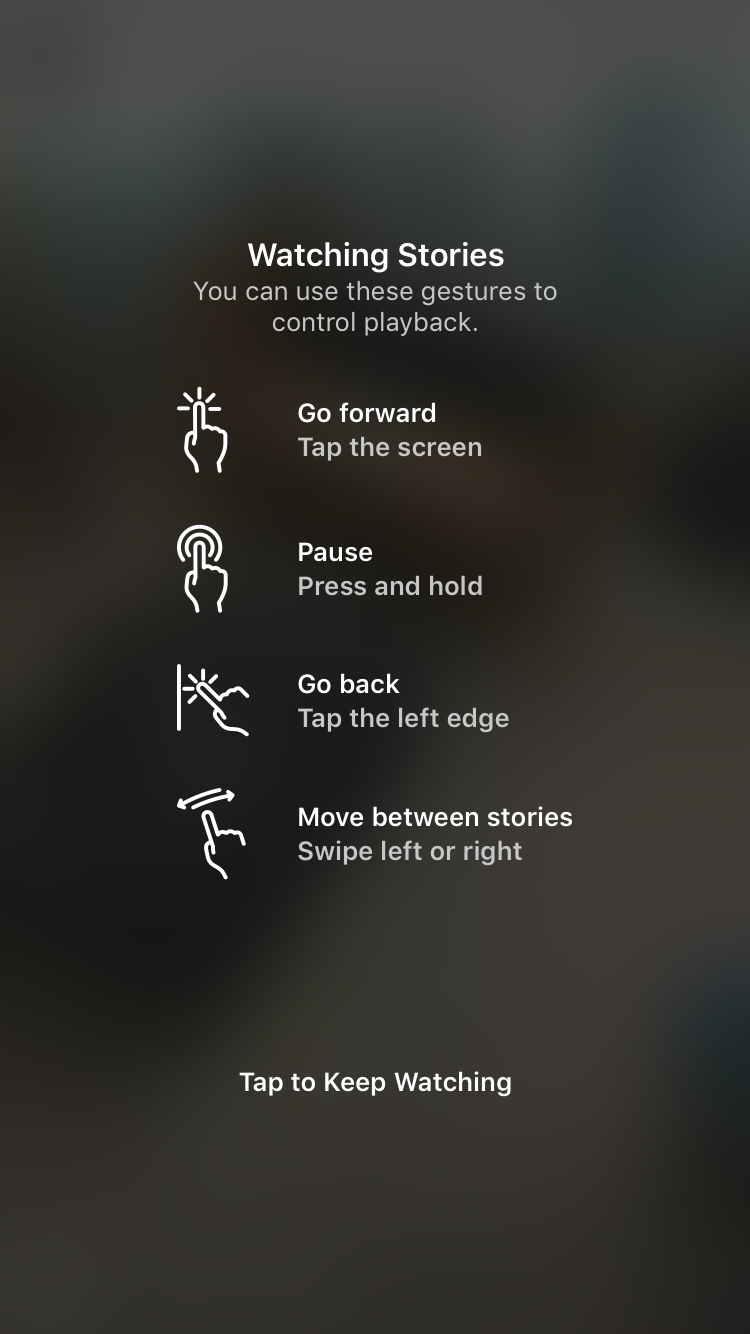 An example of feedback in intuitive design. An example of intuitive UI from Instagram showing how their stories work. The swiping and tapping motions are intuitive because they move with the user.