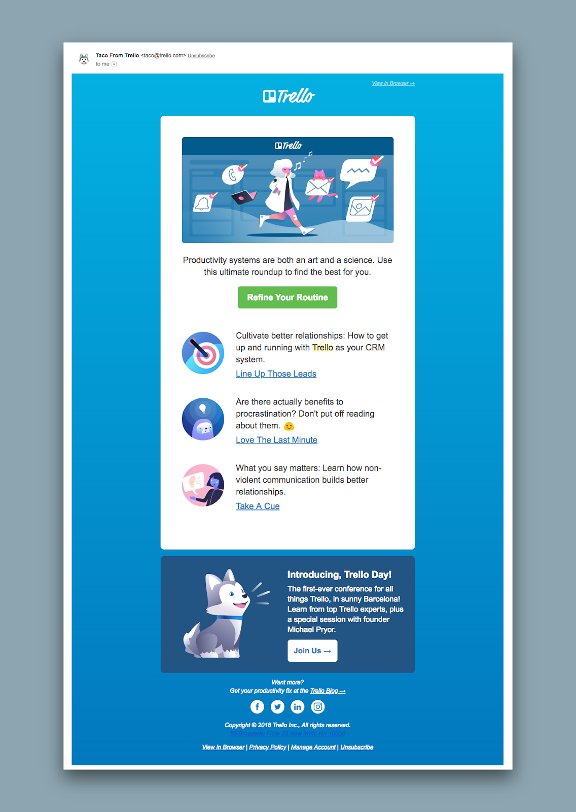 "This is an example of a good SaaS newsletter from Trello. It is a screenshot of an email with a blue background and an illustration with a CTA that says ""refine your routine"""