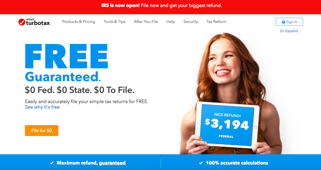 "This is a screenshot of intuit turbotax's website from february 2019. It says ""FREE guaranteed"" ""maximum refund, guaranteed"" ""100% accurate calculations"" with a photo of a woman holding a tablet that shows the amount of her federal tax refund"