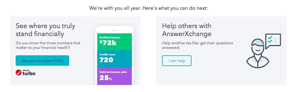 This is a screenshot from TurboTax's refund tracker page with a CTA to check out Intuit Turbo for credit score, debt to income ratio, etc.
