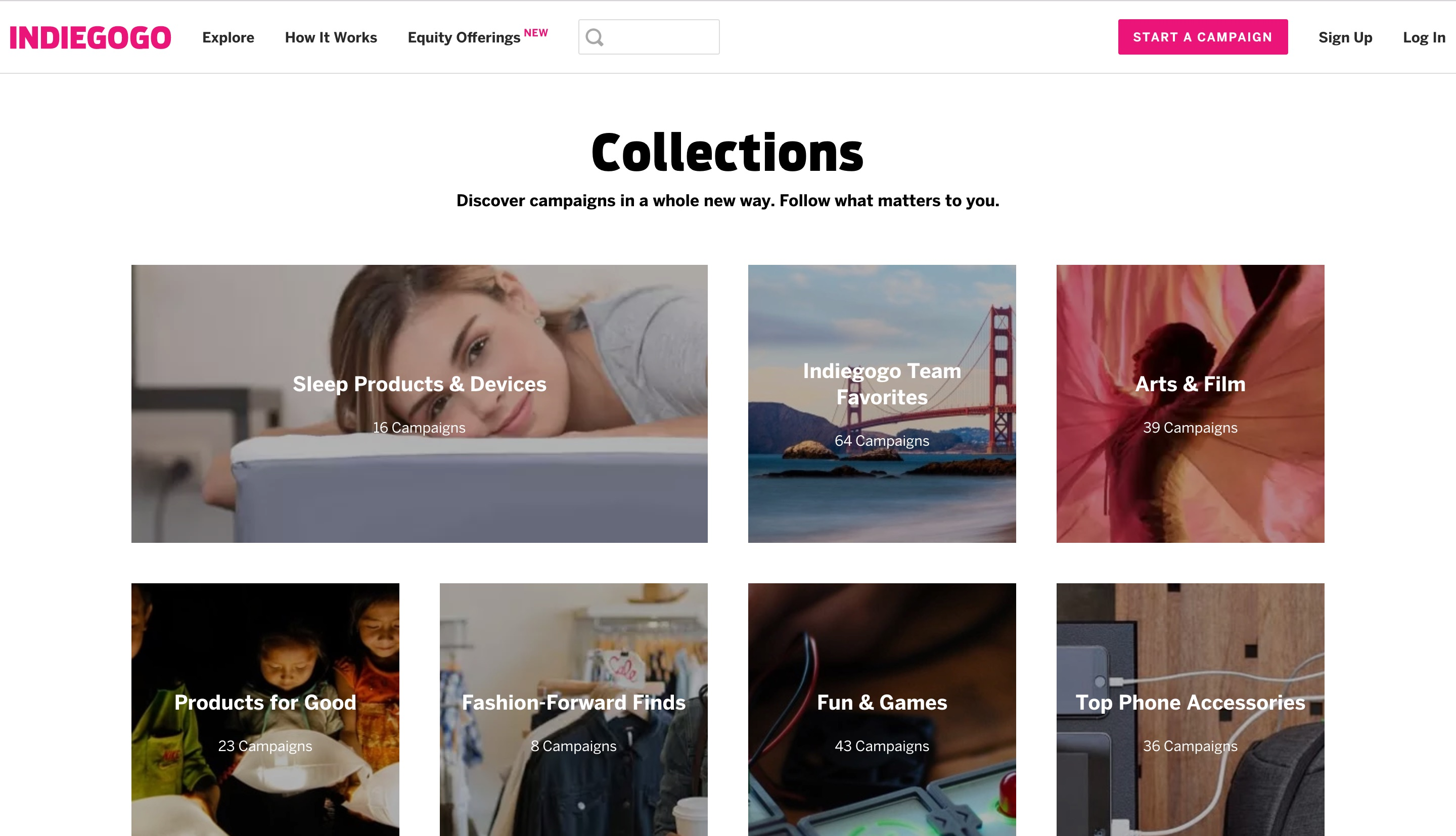 this is a screenshot of a crowdfunding platform before implementing in-app messaging. indiegogo, pictured, introducted a new feature called collections. this is a screenshot of the collections screen before coach marks.
