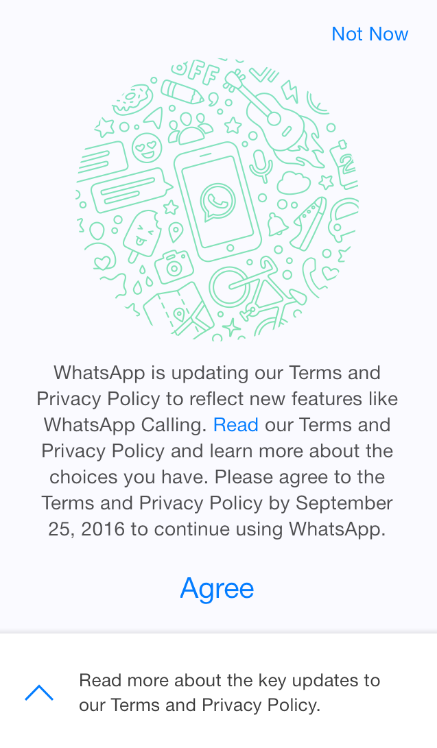WhatsApp terms of agreement