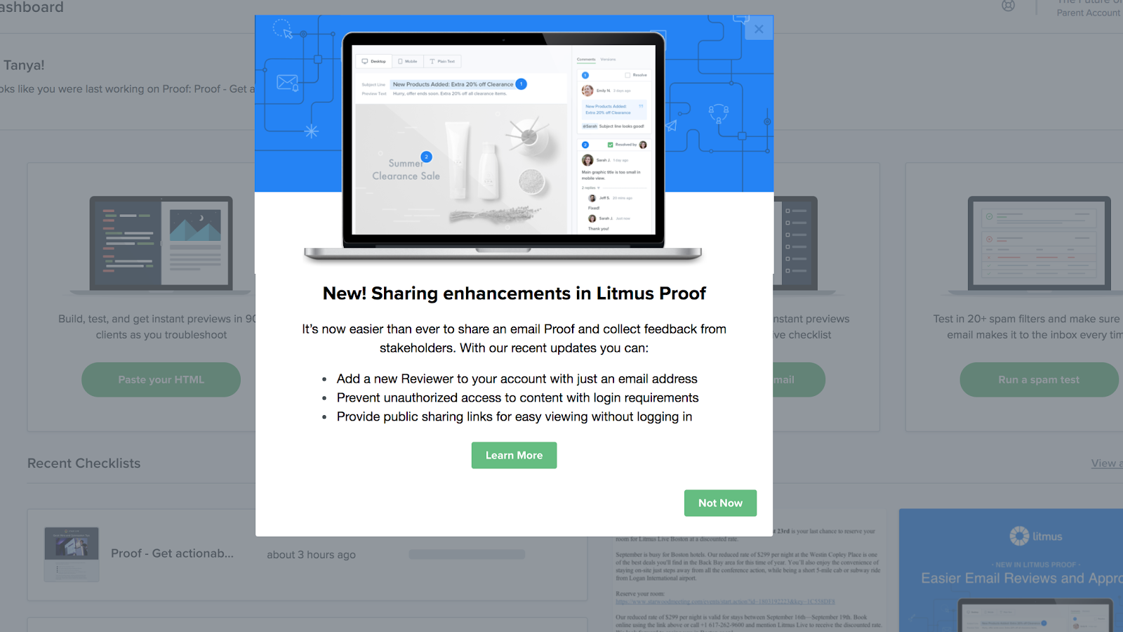 "This screenshot shows a new feature announcement example from Litmus. It shows a modal that says ""new! sharing enhancements in Litmus Proof"" and gives more information about the new feature. This is a feature announcement example built using Appcues."