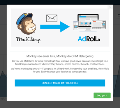 An example of modal windows used to increase feature adoption. This is an example of a micro-conversion that leads to macro conversions down the line. This is a screenshot showing Adroll's Mailchimp integration.
