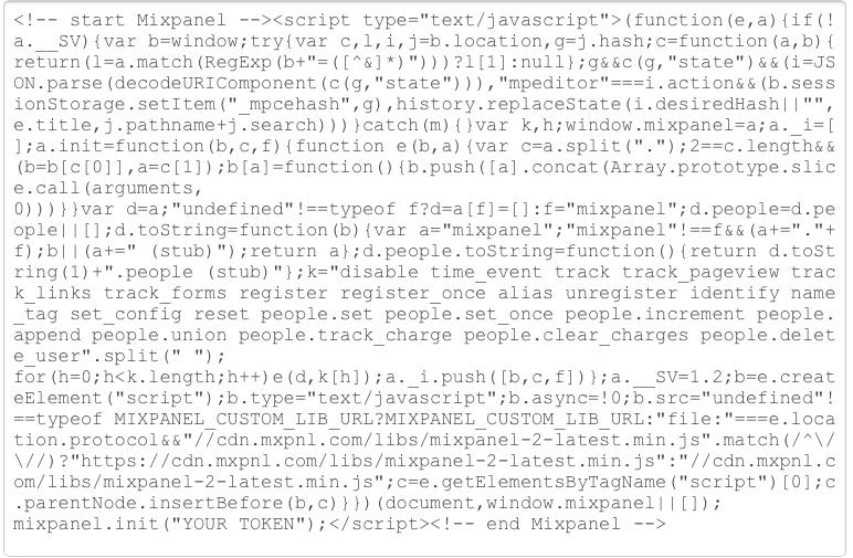 mixpanel installation code