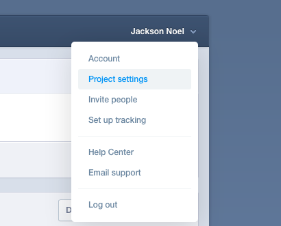 mixpanel project settings menu