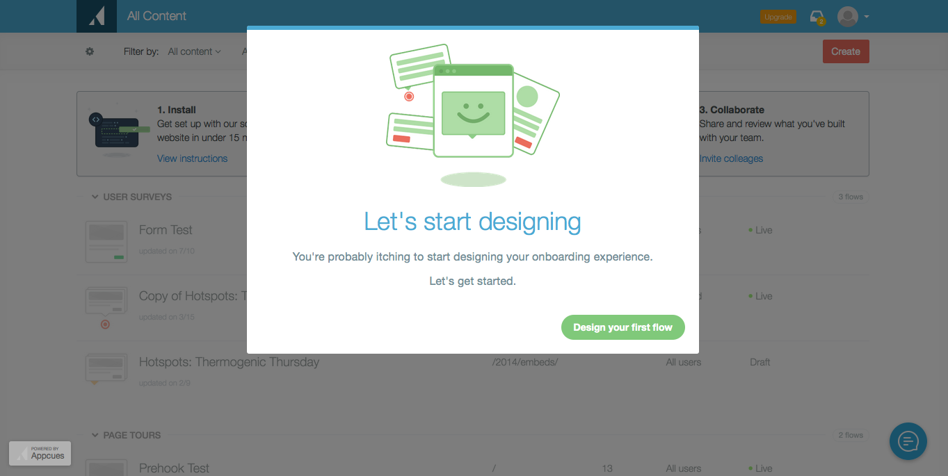 Appcues onboarding new modal