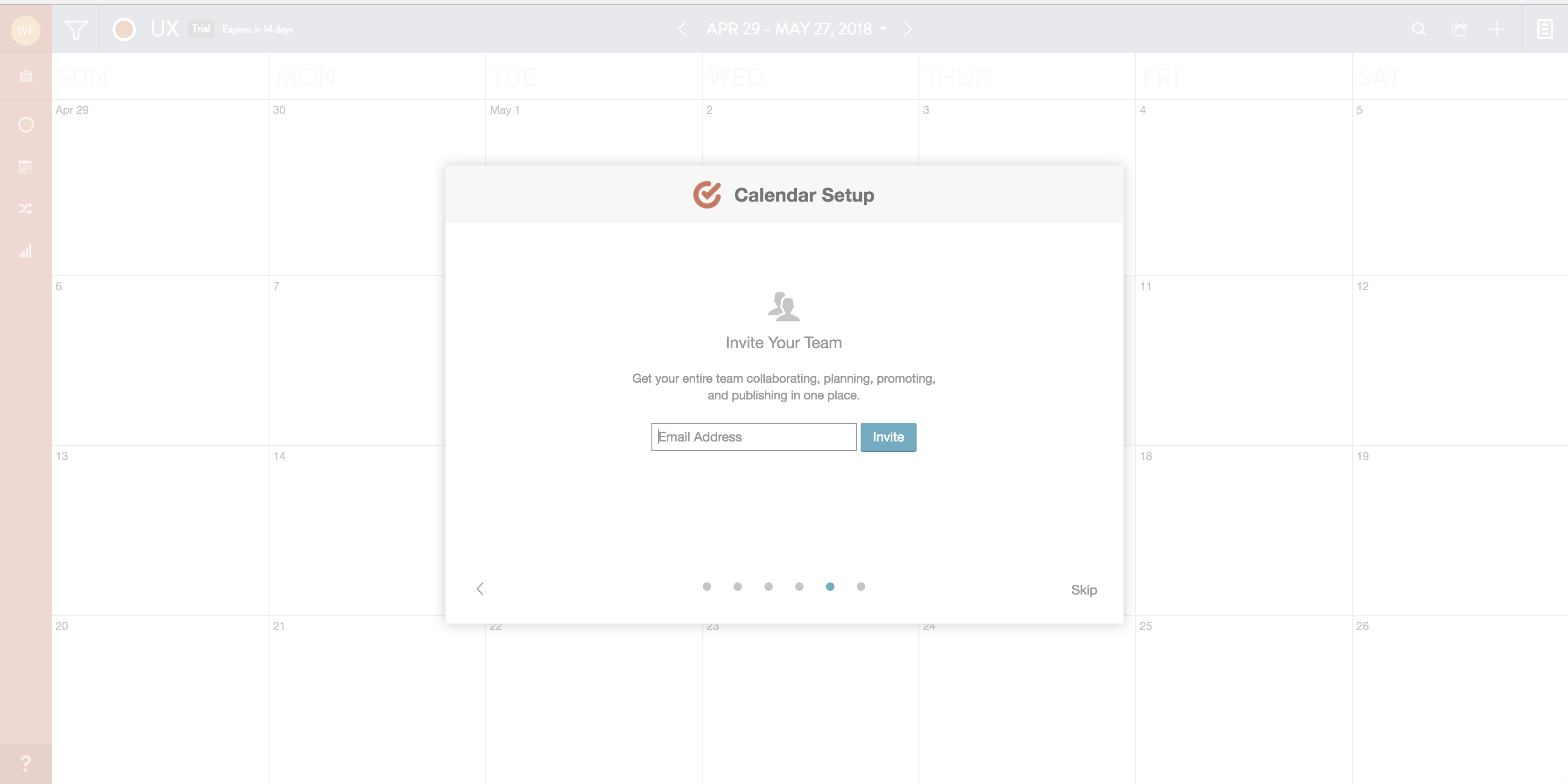 This is a screenshot of a modal onboarding sequence from coschedule. The title of the modal is Calendar Setup and there is a prompt to invite teammates