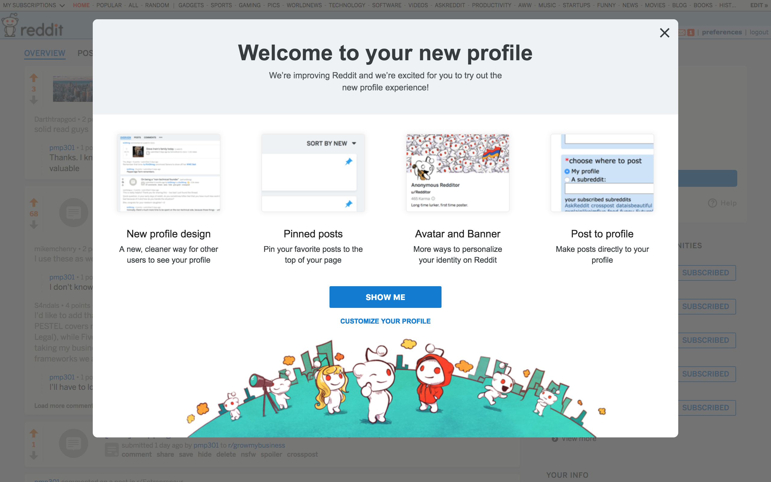 "This is a screenshot of reddit's redesign announcement that says ""welcome to your new profile"" and gives an overview of new features in a modal dialoge window that has a CTA that says show me."