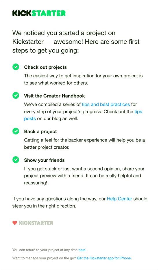Kickstarter reengagement email
