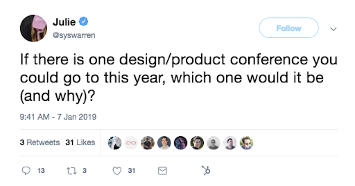 This is a tweet about product conferences and design conferences in 2019, asking which conference should you attend this year.
