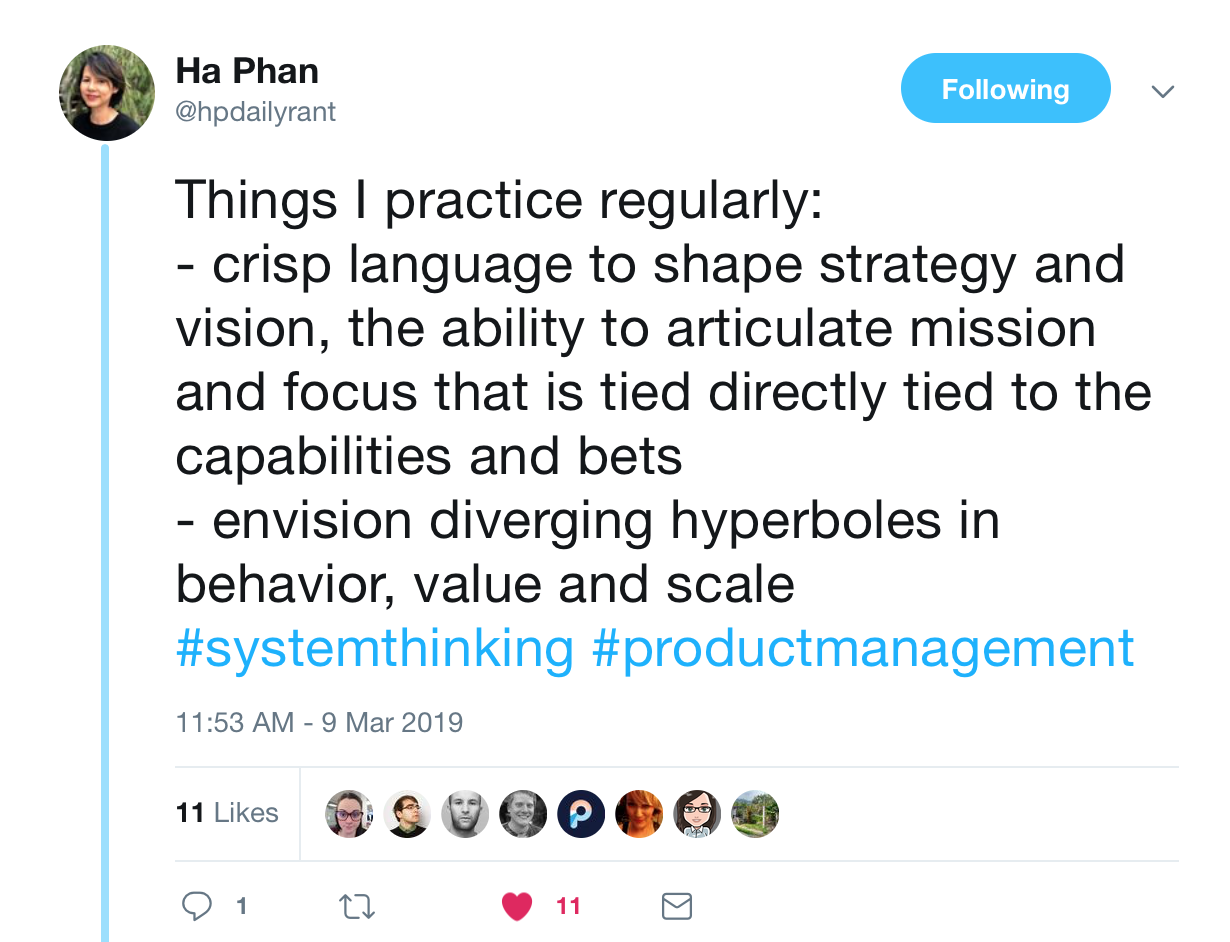 "A tweet from @hpdailyrant that says, ""Things I practice regularly: 1. crisp language to shape strategy and vision, the ability to articulate mission and docus that is tied directly to the capabilities and bets. 2. envision diverging hyperboles in behavior, value, and scale"