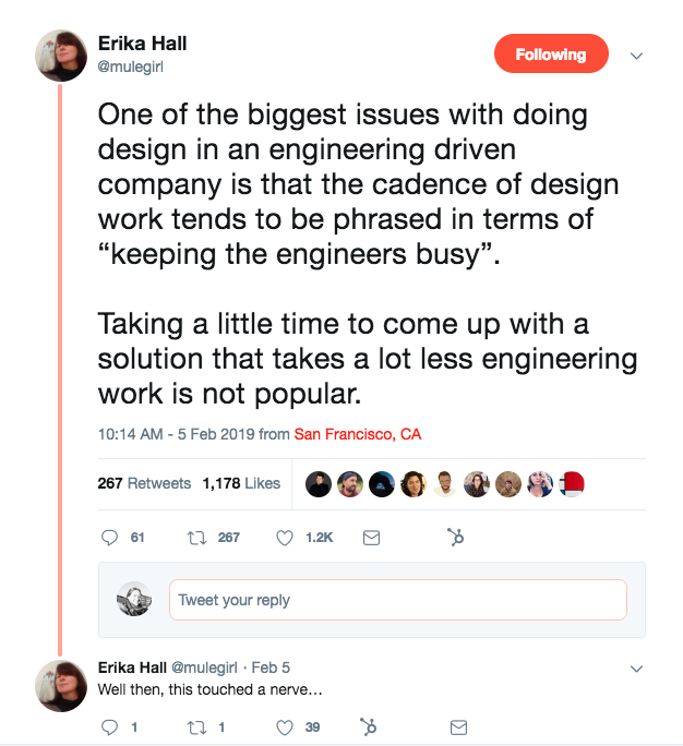 This is a tweet about product design and management from Erika Hall @mulegirl about the idea of keeping engineers busy.