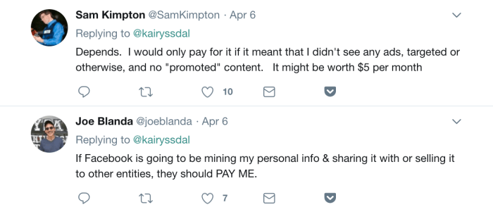 A screenshot of a Twitter conversation around privacy. One person says Facebook would be worth $5 per month to not have ads or promoted content. The other person said Facebook should pay him if they are selling his information.