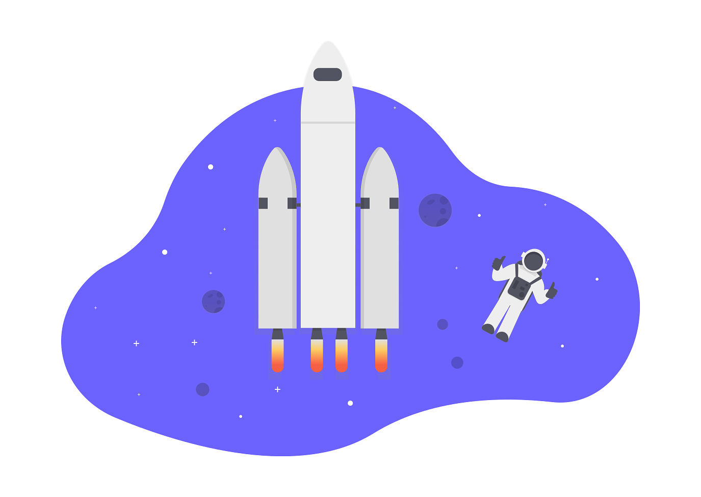 an illustration of a rocketship and astronaut as a metaphor for a product manager at a mature company