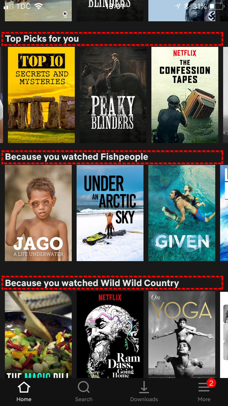 A screenshot of Netflix's AI recommendations