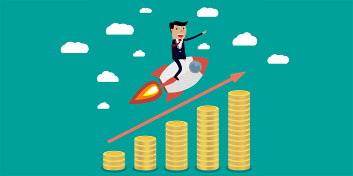 a cartoon of a man riding a rocketship over an increasing pile of gold coins