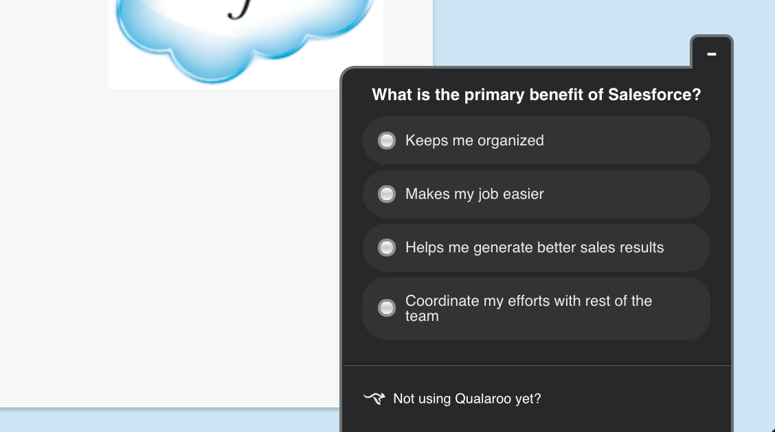 Salesforce multiple choice survey on product benefit