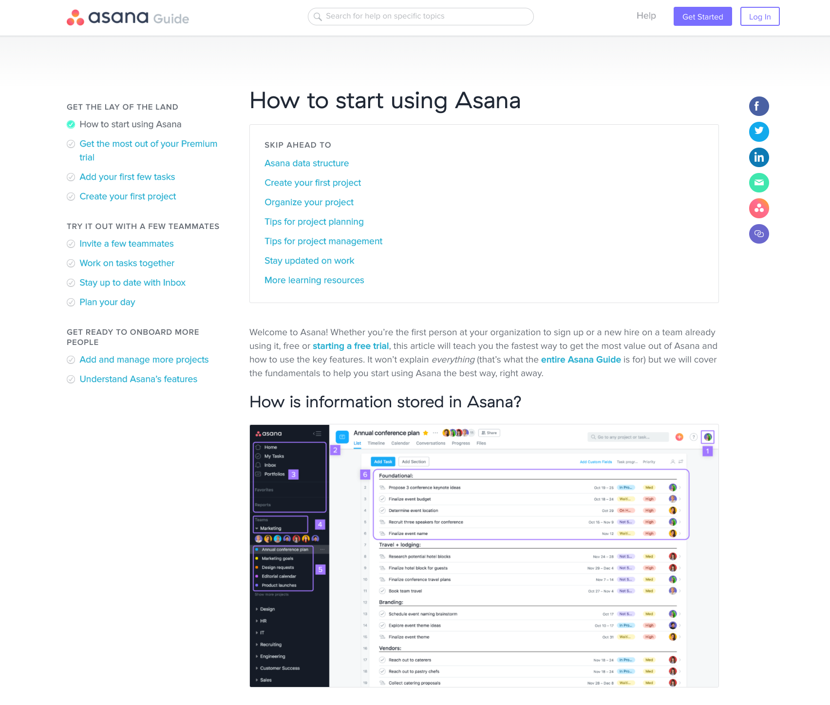 "This is a screenshot of Asana's quick start guide, which gives users access to help docs during user onboarding. It shows the page title ""How to start using Asana"" and a secondary header ""how is information stored in Asana"" with a screenshot."
