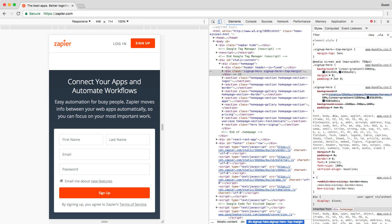 Inspect Element on Zapier's page