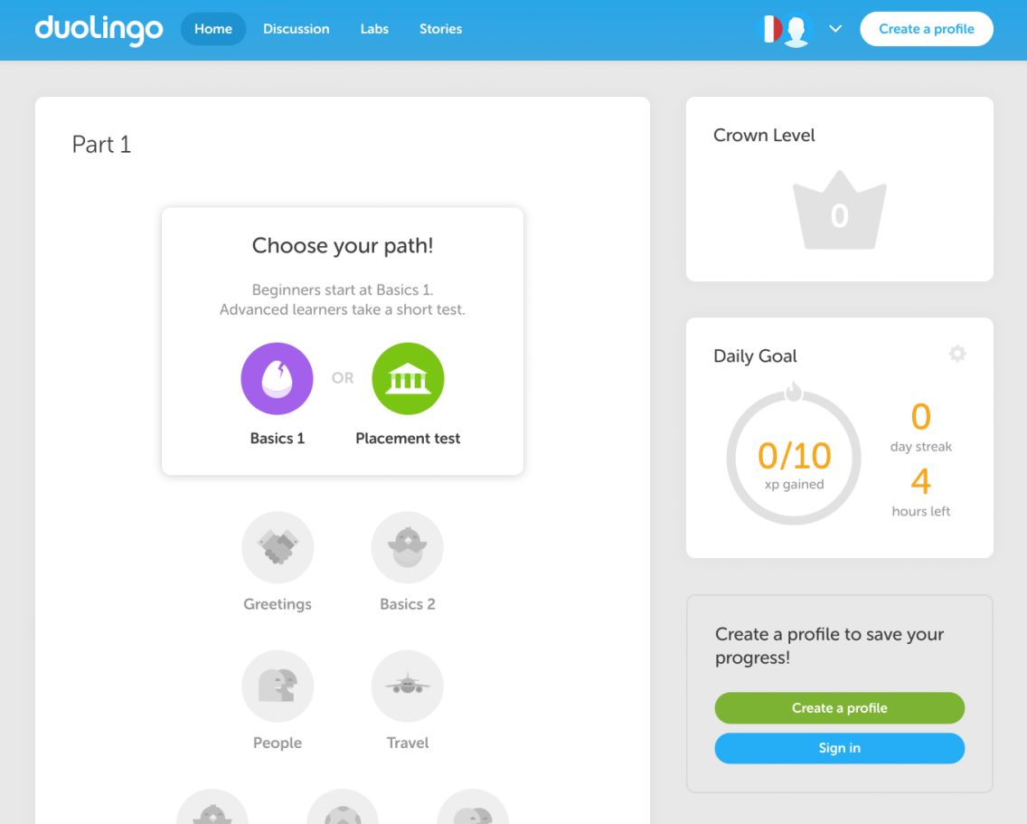 Duolingo's desktop app. This is a screenshot of a simple desktop app that has been inspired by mobile onboarding. Simple icons are shown on the dashboard. Icons for levels that are not yet available are greyed out.