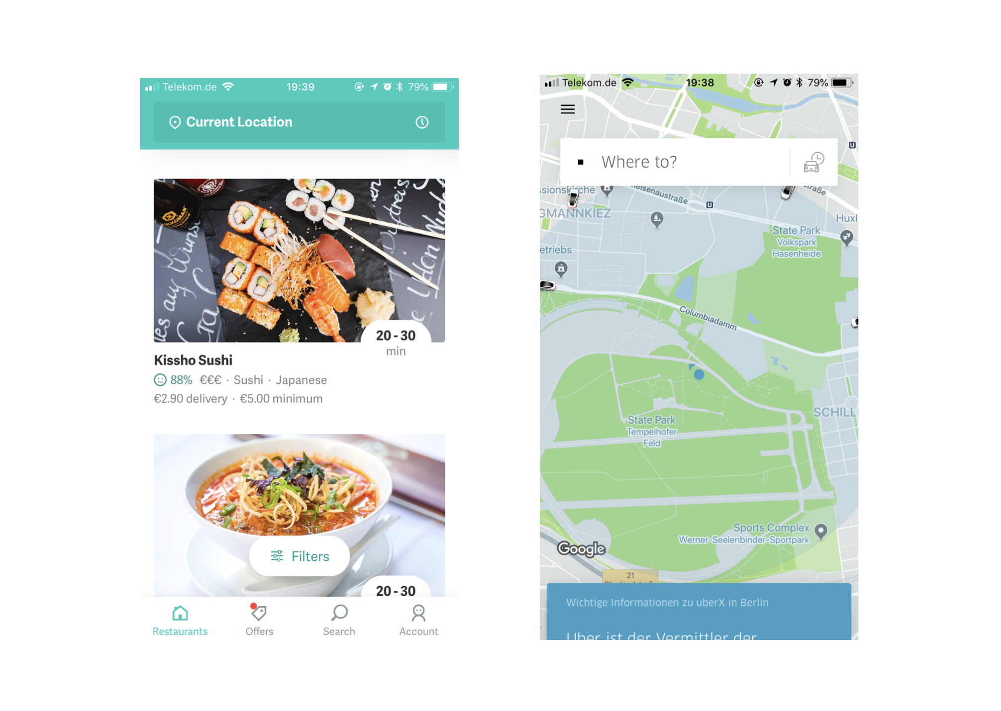 Screenshots of Uber and Deliveroo's app UI. These services seem simple from the user's perspective, but the logistics behind them are quite complex.