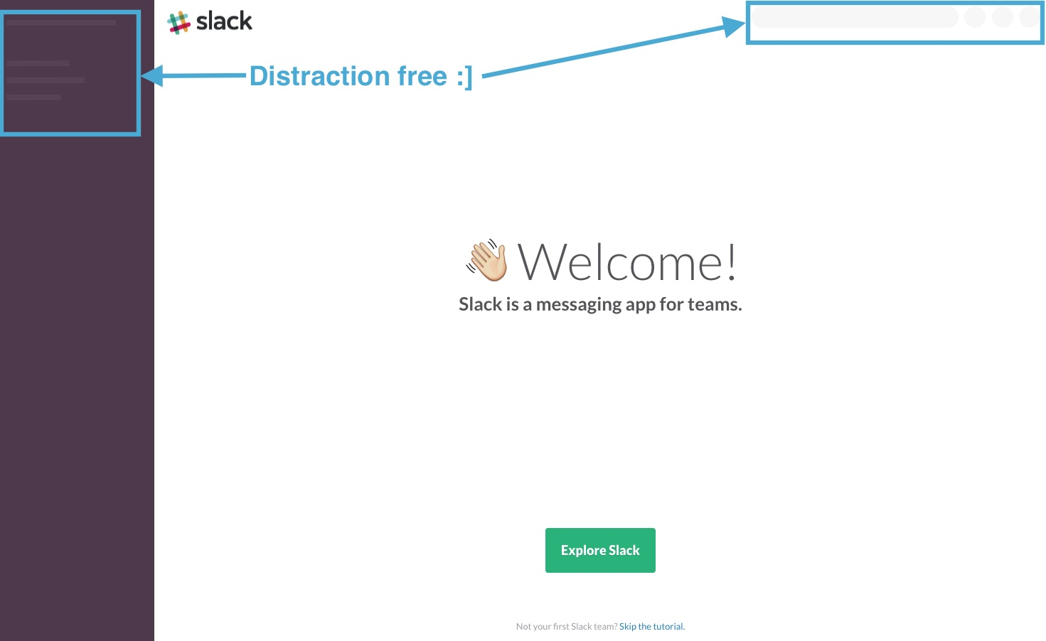 Slack new user onboarding welcome screen