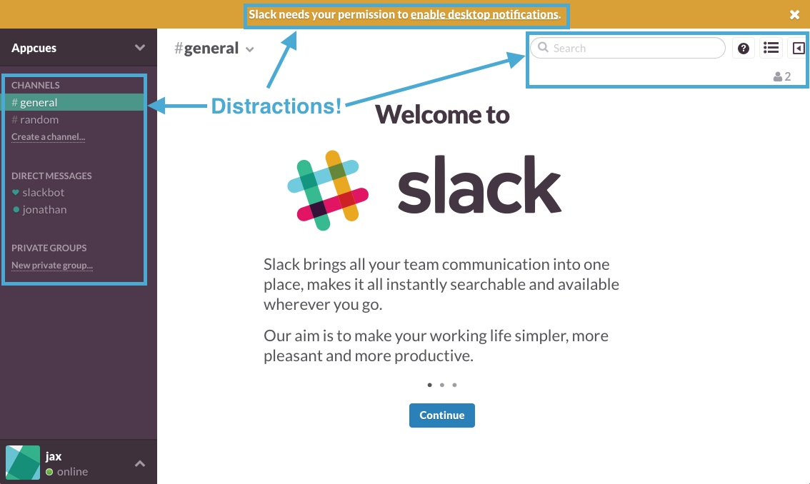 Slack old user onboarding welcome screen UX