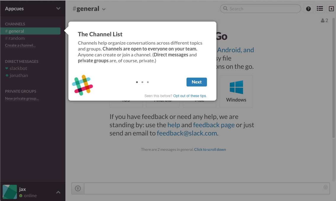 Slack user onboarding flow step 2 tooltip