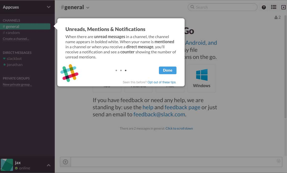 Slack user onboarding flow step 4 tooltip walkthrough