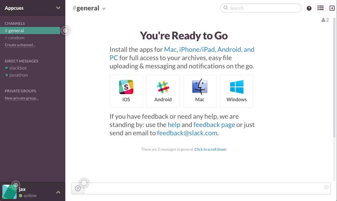 Slack user onboarding flow step 1 with hotspots