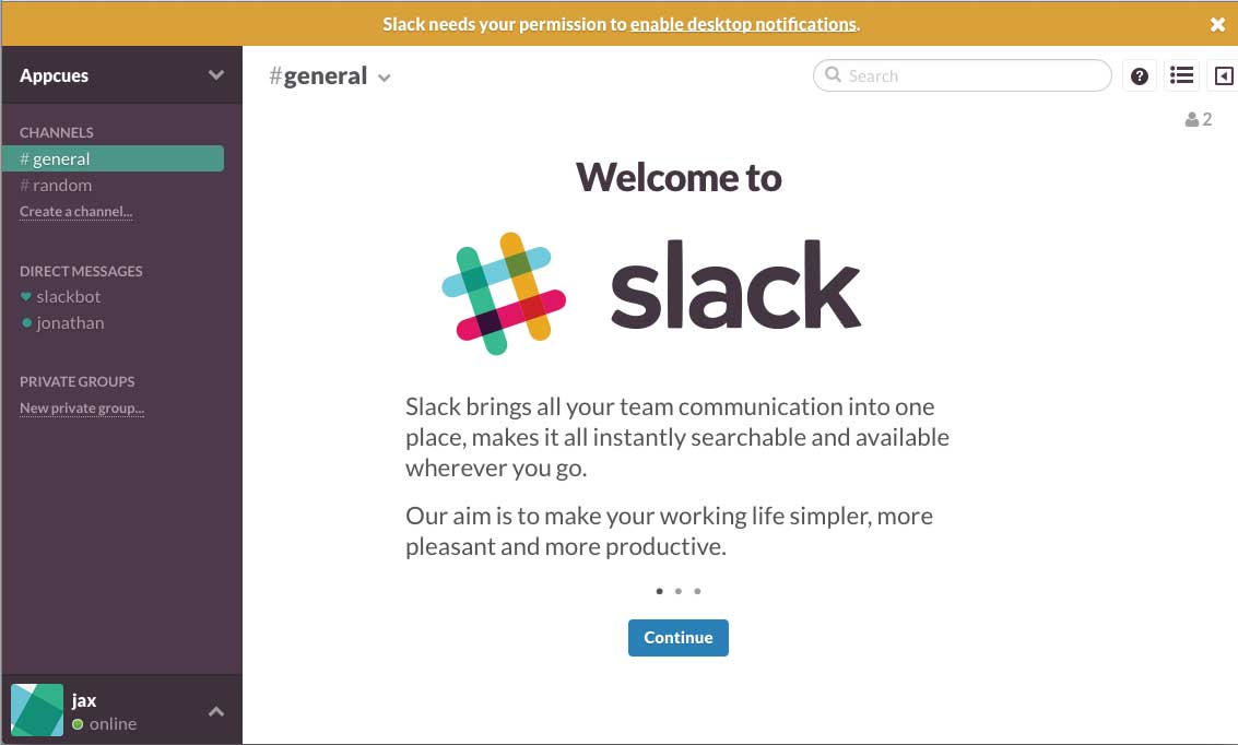 Slack old onboarding welcome screen desktop notification request
