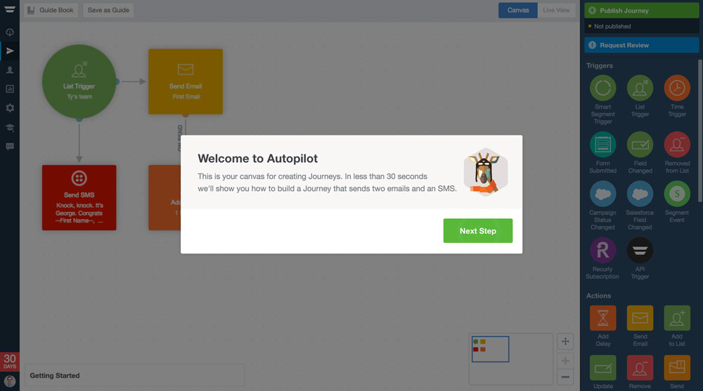 Autopilot welcome message modal product walkthrough