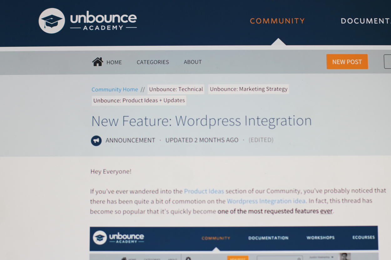 Unbounce user community where they publish tactical content on new features