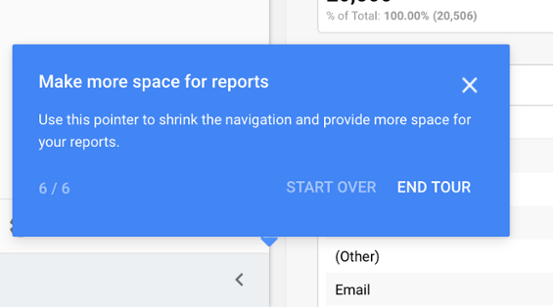a tooltip tour from google showing progress using a fraction that shows a user how many steps they have left until the end of the product tour