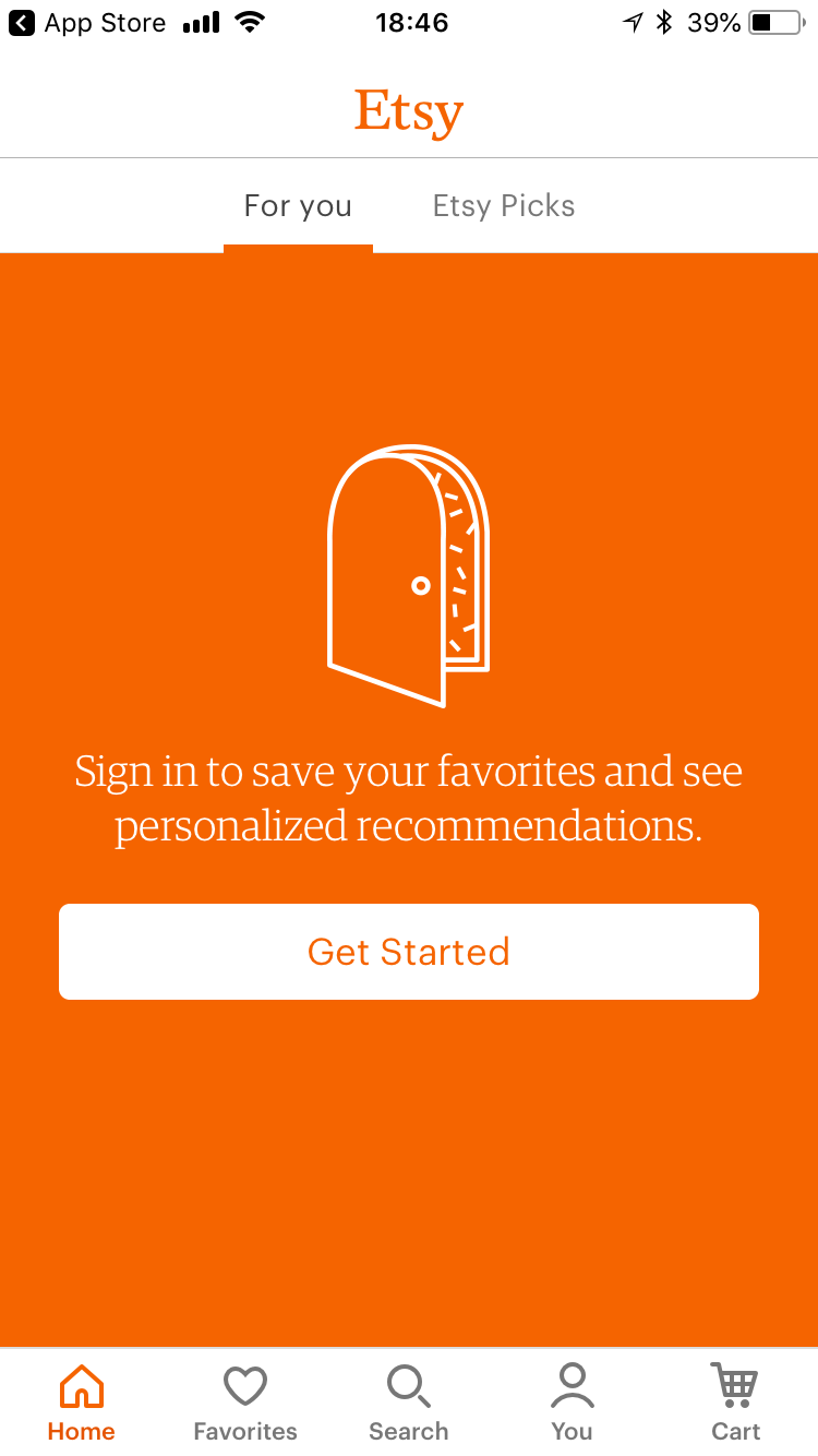 "This is a screenshot of Etsy mobile app sign up login screen. It shows an illustration of a door on an orange background and a cta that says ""get started"""
