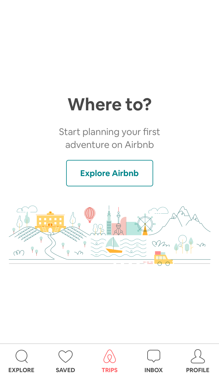 "This is a screenshot of airbnb's mobile app that uses powerful ux copy with emotive words to inspire users to take action. It says ""start planning your first adventure on airbnb"" and the cta button reads ""explore airbnb"""