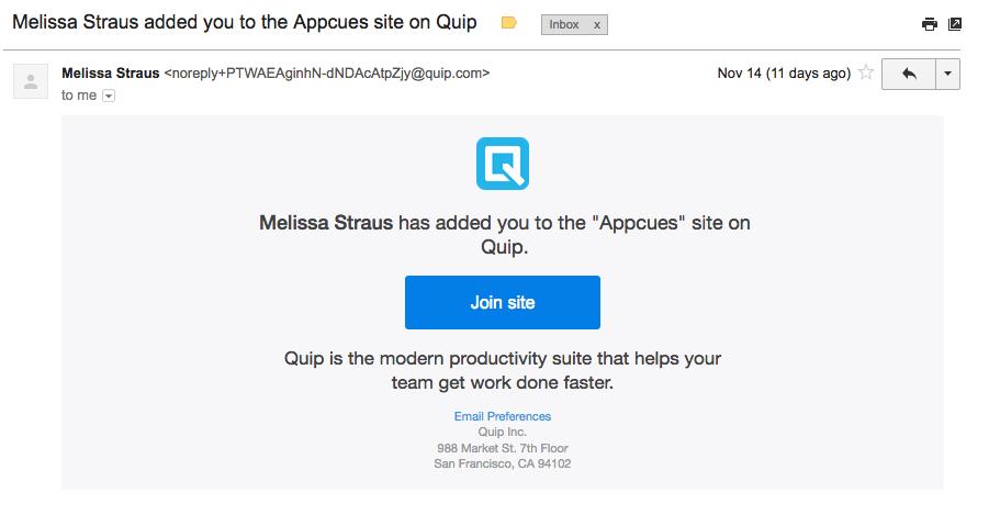 Quip email invite
