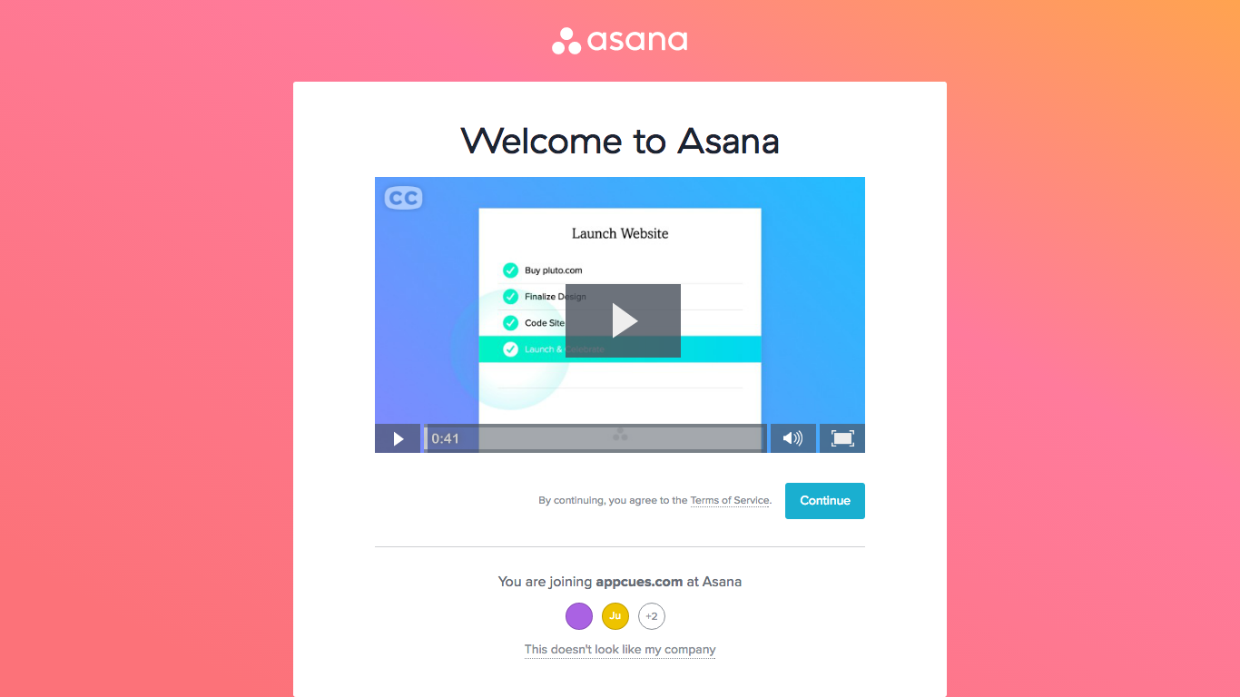 Asana welcome new user company