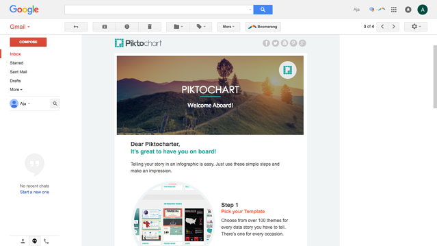 Piktochart welcome email new user