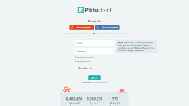 Piktochart signup page